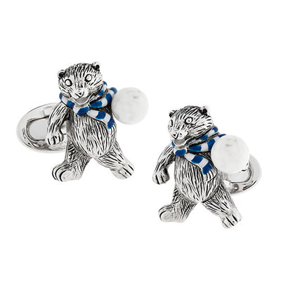 Polar Bear with Snowball Sterling Silver Cufflinks Cufflinks Jan Leslie Cufflinks and Accessories Jan Leslie