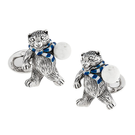 Polar Bear with Snowball Sterling Silver Cufflinks