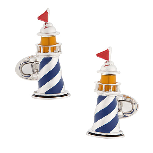 Moving Lighthouse Sterling Silver Cufflinks - Jan Leslie Cufflinks and Accessories