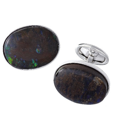Ammolite Sterling Silver Cufflinks Sale Only Jan Leslie Cufflinks and Accessories Oval Jan Leslie