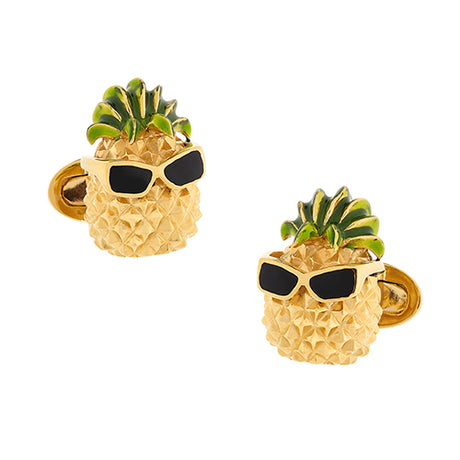 24K Vermeil Pineapple with Sunglasses Cufflinks - Jan Leslie Cufflinks and Accessories