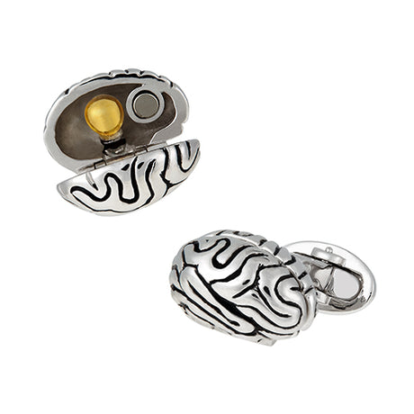 Anatomical Brain with Lightbulb Sterling Silver Cufflinks - Jan Leslie Cufflinks and Accessories