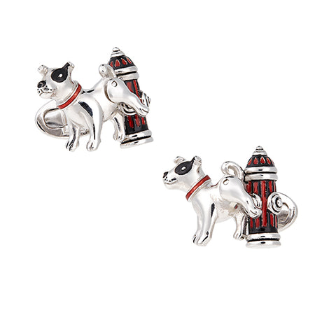 Fire Hydrant and Moving Dog Cufflinks