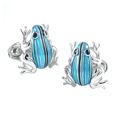 Frog with Hand-Painted Enamel Stripes - Jan Leslie Cufflinks and Accessories