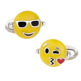 Flip Emoji Sunglasses/Kiss Sterling Silver Cufflinks - Jan Leslie Cufflinks and Accessories