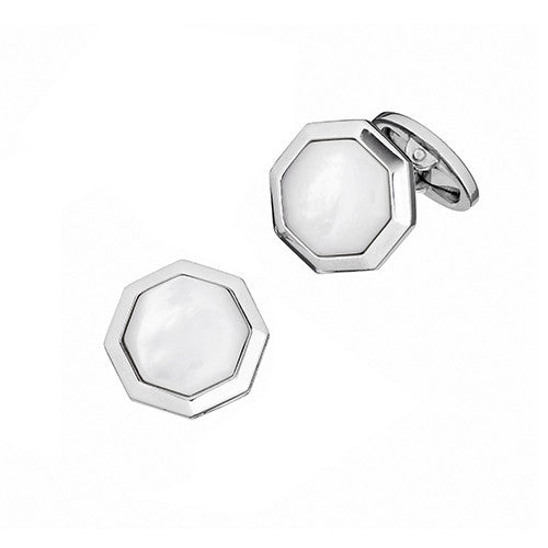 Mother of Pearl Octagon Gemstone Cufflinks  by Jan Leslie