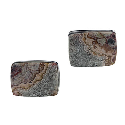 Crazy Lace Agate Gemstone Sterling Silver Cufflinks Cufflinks Jan Leslie Cufflinks and Accessories Rectangle Jan Leslie