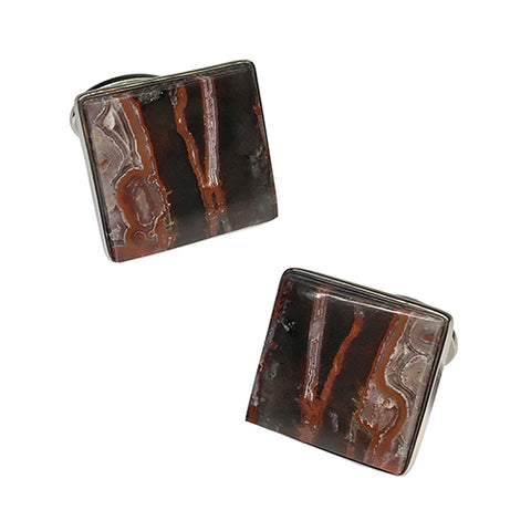 Crazy Lace Agate Sterling Silver Cufflinks
