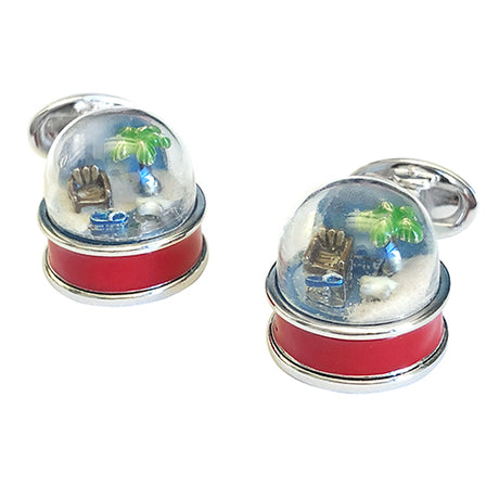 Beach Snow Globe Sterling Silver Cufflinks