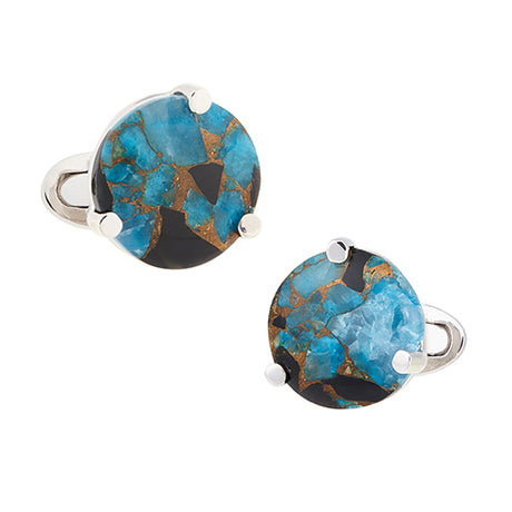 Blue Copper Obsidian Sterling Silver Cufflinks - Jan Leslie Cufflinks and Accessories