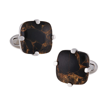Black Copper Obsidian Cufflinks - Jan Leslie Cufflinks and Accessories