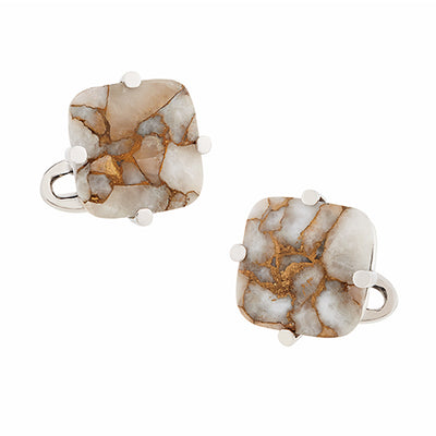 Square Copper Calcite Cufflinks - Jan Leslie Cufflinks and Accessories