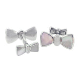 Sterling Silver Mother of Pearl Bowtie Cufflinks - Jan Leslie Cufflinks and Accessories