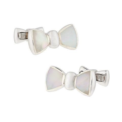 Sterling Silver Mother of Pearl Bowtie Cufflinks