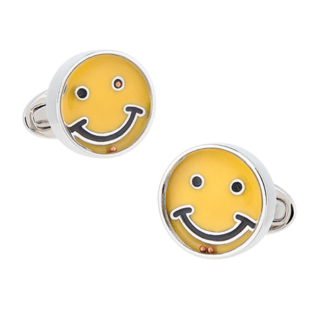 Smiley Face Game Sterling Silver Cufflinks - Jan Leslie Cufflinks and Accessories