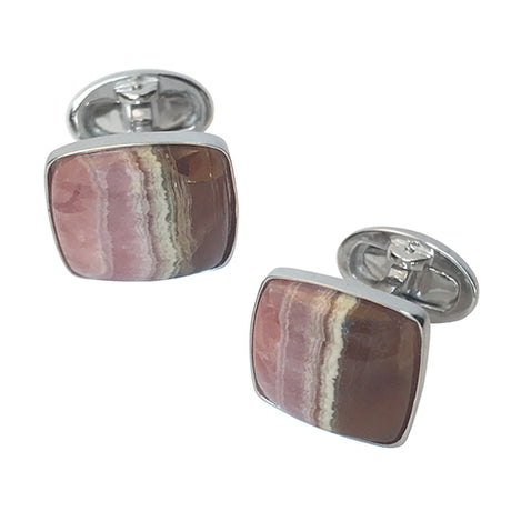 Honey Rhodocrosite Sterling Silver Cufflinks - Jan Leslie Cufflinks and Accessories