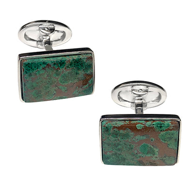 Chrysocolla Malachite Sterling Silver Cufflinks - Jan Leslie Cufflinks and Accessories