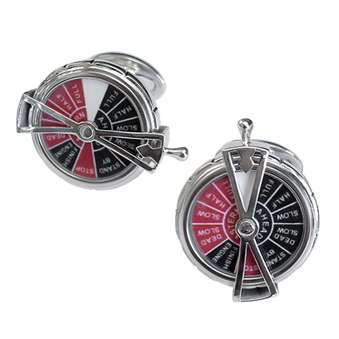 Ship's Telegraph with Moving Dial Sterling Silver Cufflinks