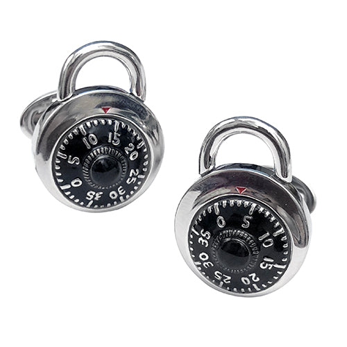 Moving Combination Lock Sterling Silver Cufflinks