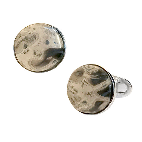 Palm Fossil Sterling Silver Cufflinks