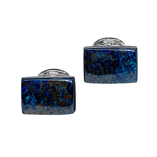 Blue Multi Azurite Sterling Silver Cufflinks - Jan Leslie Cufflinks and Accessories