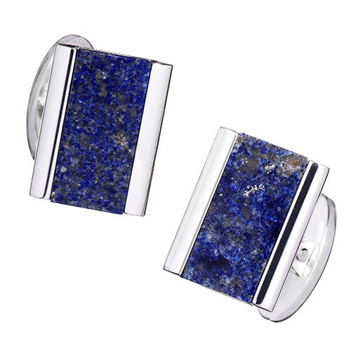 Blue Lapis Thin Gemstone Rectangle Cufflinks by Jan Leslie