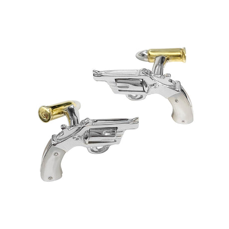 Inlay Gun with 24K Vermeil Bullet Back Sterling Silver Cufflinks