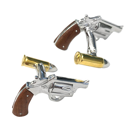 Wood Inlay Gun with 24K Vermeil Bullet Sterling Silver Cufflinks - Jan Leslie Cufflinks and Accessories