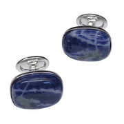 Sodalite Rectangle Sterling Silver Cufflinks - Jan Leslie Cufflinks and Accessories