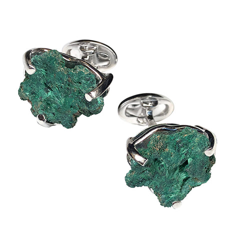 Malachite Geode Sterling Silver Cufflinks - Jan Leslie Cufflinks and Accessories