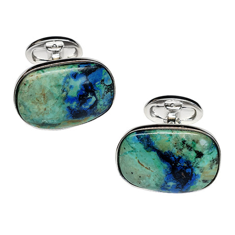 Green Chrysocolla Sterling Silver Cufflinks - Jan Leslie Cufflinks and Accessories