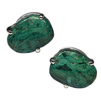 Green Chrysocolla Free Shape Sterling Silver Cufflinks Cufflinks Jan Leslie Cufflinks and Accessories Pronged Jan Leslie