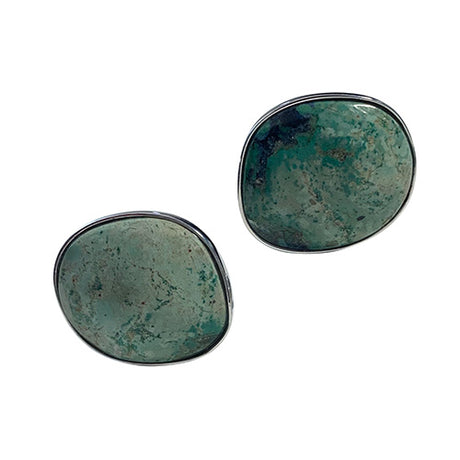 Green Chrysocolla Sterling Silver Cufflinks