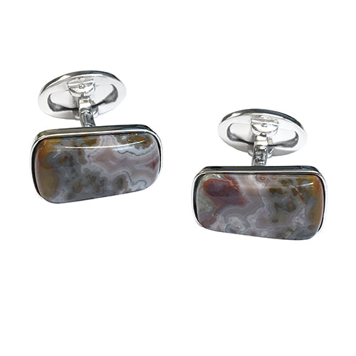Apple Valley Agate Sterling Silver Cufflinks - Jan Leslie Cufflinks and Accessories