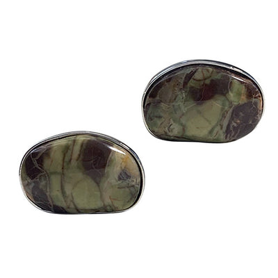 Mushroom Jasper Sterling Silver Cufflinks Cufflinks Jan Leslie Cufflinks and Accessories Oval Jan Leslie