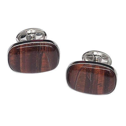 Tiger Iron Sterling Silver Cufflinks - Jan Leslie Cufflinks and Accessories