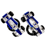 Blue Formula One Race Car Cufflinks by Jan Leslie