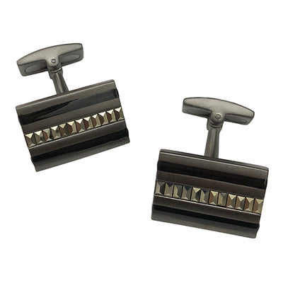 Gunmetal Cufflinks with Marcasite Stripe - Jan Leslie Cufflinks and Accessories