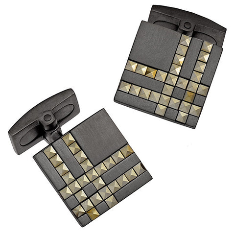Square Plaid Cufflinks in Silver or Gunmetal