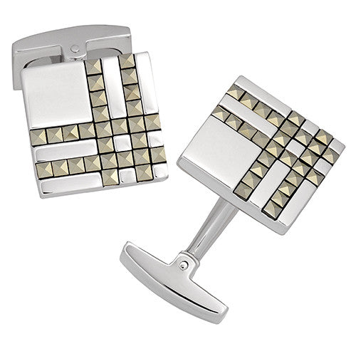 Square Plaid Cufflinks by Jan Leslie in Gunmetal Finish