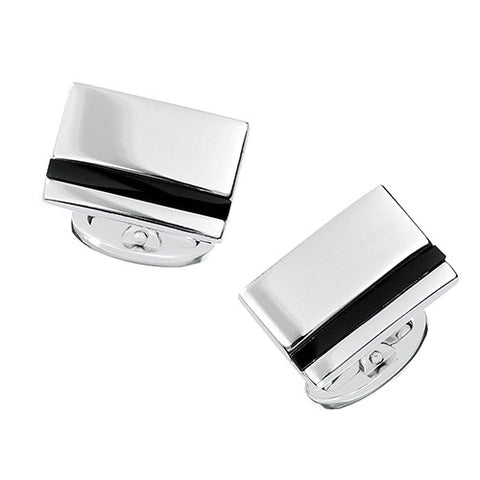 Rectangular Onyx Stripe Engravable Cufflinks