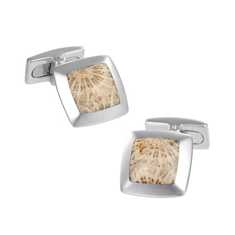 Fossilized Coral Cufflinks