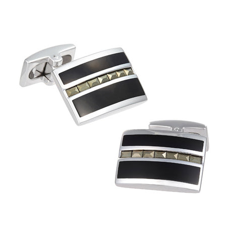 Diamond Pattern Onyx Cufflinks - Jan Leslie Cufflinks and Accessories