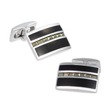 Diamond Pattern Onyx Cufflinks by Jan Leslie