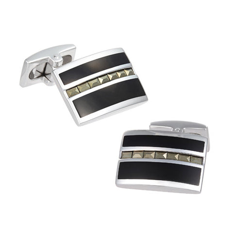 Diamond Pattern Onyx Cufflinks