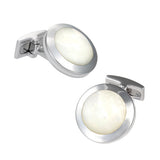 Round Mother of Pearl Gemstone Cufflinks by Jan Leslie