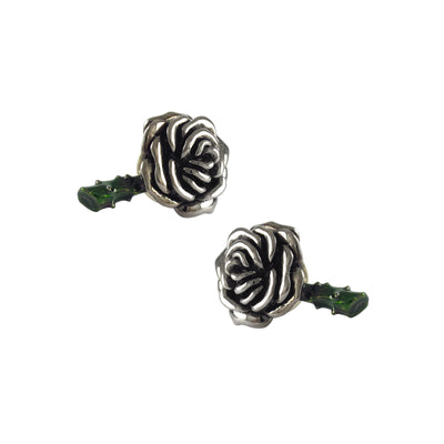 Rose & Stem Sterling Silver Black Ruthenium & Enamel Cufflinks Cufflinks Jan Leslie Jan Leslie