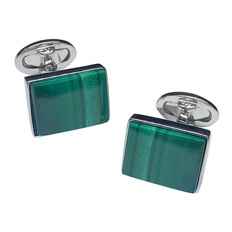 Natural Malachite Sterling Silver Rectangle Cufflinks