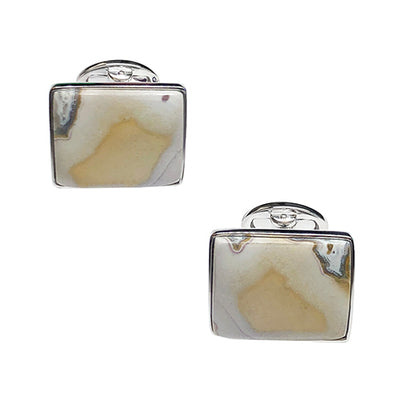 Natural Jasper Sterling Silver Cufflinks Cufflinks Jan Leslie Cufflinks and Accessories Rectangle Jan Leslie