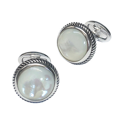 Round Polished Gemstone with Rope Edge Sterling Silver Cufflinks Cufflinks Jan Leslie Cufflinks and Accessories MOP Jan Leslie